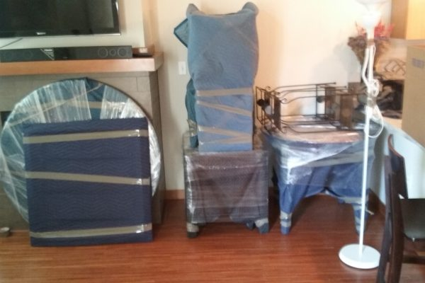 packed furniture ready to be moved